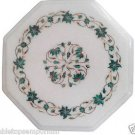Size 1'x1' White Marble End Corner Coffee Table Top Malachite Mosaic Inlay Decor