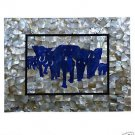Size 4'x2' Marble Dining Table Top Mother of Pearl Lapis Elephant Art Decor Art