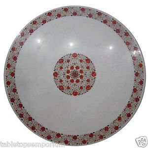 Size 4'x4' Marble Coffee Table Top Carnelian Mosaic Inlay Floral Art Decor