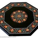 "18"" Black Marble Coffee Side Table Top Mosaic Carnelian Inlay Mosaic Patio Decor"
