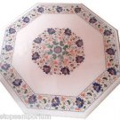 Size 2'x2' White Marble Side Coffee Center Table Top Inlay Mosaic Pietradure Art