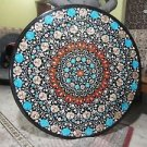 """36"""" Black Marble Turquoise Dining Table Top Coffee Inlay Art Paua Shell Decor"""