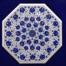 "24"" Marble White Table Top Lapis Lazuli Inlaid Design Marquetry Furniture Decor"