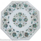 Size 1'x1' White Marble Side Coffee Table Top Inlay Marquetry Mosaic Decor Arts
