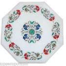 "12"" Marble Table Top Stone Inlaid Pietra Dura Foral Home Decorative Christmas"