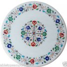 "Size 18""x18"" White Marble Coffee Table Top Pietra Dura Marquetry Home Decor Gift"