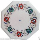 Size 1'x1' White Marble End Coffee Center Table Top Rare Inlay Stone Mosaic Deco
