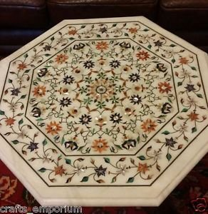"""30"""" White Marble Dining Table Top Art Of Inlay Marquetry Pietra Dura Art Decor"""