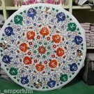 """24"""" Round Marble Dining Lapis Malachite Floral Arts Table Top Coffee Mosaic Gift"""