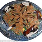 """Size 30""""x30"""" Marble Coffee Table Top Marquetry Duck Fine Art Mosaic Inlaid Decor"""