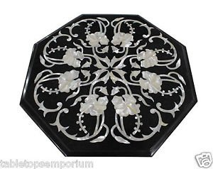 """14"""" Black Marble Paua Shell Dining Table Top Coffee Inlaid Art Home Decor Gifts"""