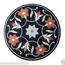 """Size 24""""x24"""" Black Marble Side Table Top Mosaic Handmade Home Decor Arts"""