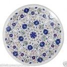 "Size 18""x18"" White Marble Coffee Table Top Pietra Dura Handmade Home Decor Arts"