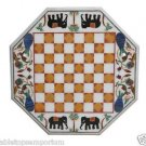 """Size 24""""x24"""" Marble Coffee Chess Art Table Top Elephant Mosaic Inlaid Home Decor"""