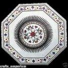 "42"" Marble Table Top Semi Precious Stone Inlaid Pietra Dura Foral Home Decor Art"