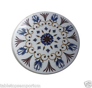 Size 1'x1' Marble Center Coffee Table Top Marquetry Mosaic Floral Home Decor