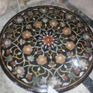 """42"""" Black Marble Dining Table Top Coffee Dining Marquetry Mosaic Handmade Gifts"""