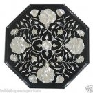 "12"" Black Marble Table Top Coffee Paua Shell Floral Pietra Dura Inlaid Art Decor"