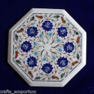 "12"" Marble Inlay Turquoise coffee Side Table Lazy Susan Marquetry Pietra Dura"