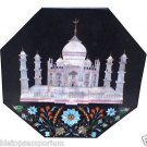 Size 2'x2'  Black Marble Side Coffee Center Table Top Inlay Tajmahal Mosaic Deco