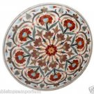 Size 3'x3' Marble Coffee Table Top Inlay Gemstone Marquetry Mosaic Outdoor Decor