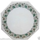 "Size 18'x18"" Marble Side Coffee Table Top Rare Malachite Mosaic Inlay Decor Art"
