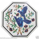 """Size 18""""x18"""" White Marble Coffee Table Top Birds Inlay Handmade Home Decor Gifts"""
