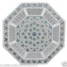 """Size 30""""x30"""" Marble Corner Coffee Table Top Pauashell Mosaic Floral Decor"""