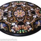 Size 3.5'x3.5' Black Marble Coffee Table Top Rare Inlay Floral Mosaic Decor