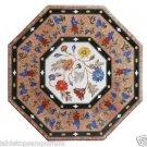 "Size 24""x24"" Marble Coffee Center Table Top Semi Precious Gems Mosaic Inlay Work"