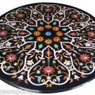 Size 3.5'x3.5' Marble Dining Table Top Handmade Marquetry Mosaic Christmas Decor
