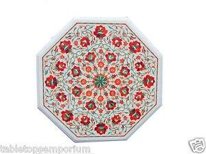 "Size 18""x18"" Marble Side Coffee Table Top Carnelian Inlay Mosaic Patio Decor"