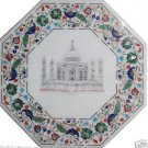 Size 2'x2' White Marble Center Coffee Table Top Tajmahal Mosaic Inlay Birds Deco