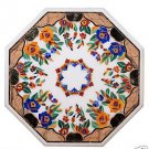 Size 2'x2' Marble End Coffee Table Top Inlay Pietradure Mosaic Floral Decor