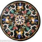 "24"" Black Marble Design Inlaid Coffee Table Top Handmade Mosaic Home Decor Art"