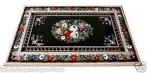 4'x2.5' Black Marble Dining Table Top Inlaid Mosaic Marquetry Patio Furniture