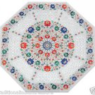 Size 2'x2' Marble Side Coffee Table Top Semi Gems Marquetry Mosaic Decor