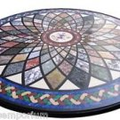 """Size 30""""x30"""" Black Marble Coffee Table Top Marquetry Mosaic Gemstone Inlaid Arts"""