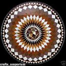 "24"" Black Marble Marquetry Inlay Coffee Dining Table Top Mosaic Home Decor Gifts"