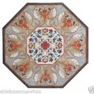 """Size 36""""x36"""" Marble Corner Coffee Table Top Rare Inlay Marquetry Patio Furniture"""