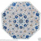 Size 2.5'x2.5' Marble Office furniture Lapis lazuli Table Top Stone Inlaid Arts