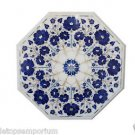 """Size 18""""x18"""" Marble Coffee Table Top Lapis Lazuli Inlay Mosaic Marquetry Decor"""
