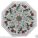 """Size 12""""x12"""" Marble Handmade Side Table Top Inlay Pietra Dura Peacock Art Home"""