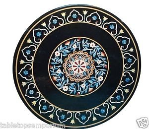 """Size 24""""x24"""" Marble Coffee Side Corner Table Top Marquetry Mosaic Inlay Art Deco"""