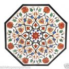 "Size 24""x24"" Marble Coffee Table Top Carnelian Floral Mosaic Inlay Art Furniture"