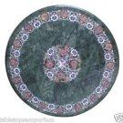 Size 2'x2' Marble Center Coffee Table Top Rare Inlay Gem Floral Mosaic Patio Art