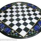 """Size 24""""x24"""" Marble Coffee Center Chess Table Top Rare Mosaic Inlay Garden Decor"""