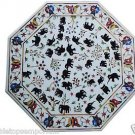 "Size 42""x42"" Marble Coffee Side Table Top Elephant Inlay Gem Marquetry Home Deco"
