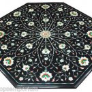 2'x2' Marble Side Coffee Center Table Top Rare Stone Inlay Marqyetry Garden Deco