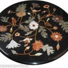 """Size 24""""x24"""" Italian Marble Coffee Side Table Top Inlay Marquetry Mosaic Decor"""